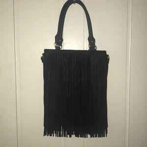 Leather fringe hand/shoulder bag